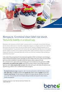 BENEO paper Remypure functional clean label rice starch