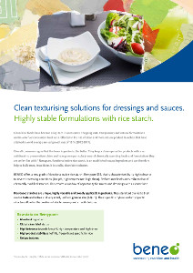 BENEO brochure clean label rice starch in dressingsauces
