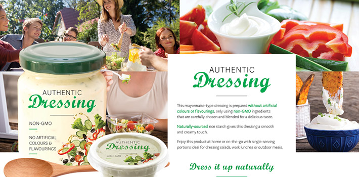 All-natural dressing with clean label rice starch.