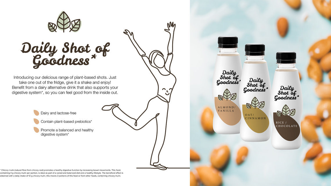 Dairy alternative drink with Orafti® chicory root fibres.