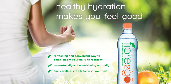 Concept flavoured fibre waters promoting digestive health