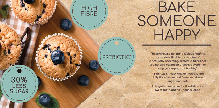 Prebiotic high in fibre muffin