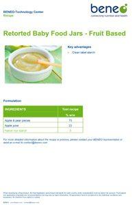 Recipe retorted baby food jars - fruit based