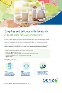 Dairy alternative with rice starch