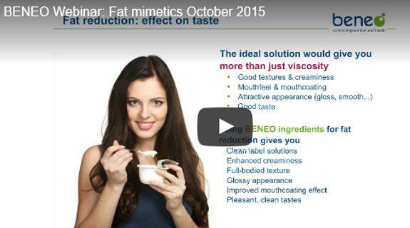 BENEO expert webinar on Tasty fat reduction