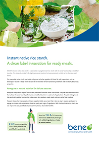 BENEO paper - Instant native rice starch, a clean label innovation for ready meals