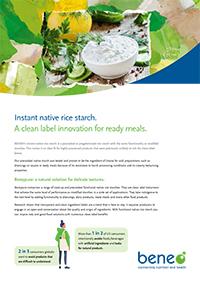 Almidón de arroz nativo instantáneo: una innovación de etiqueta limpia para comidas preparadas.