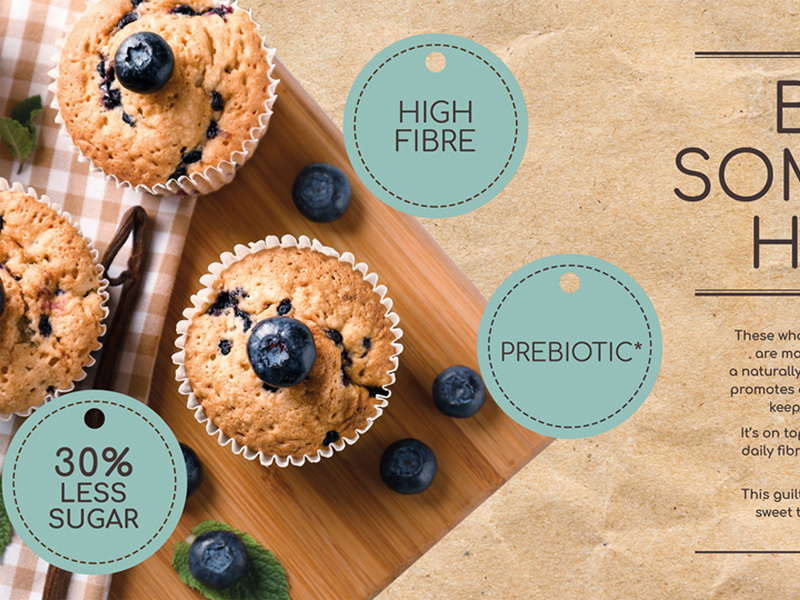 Muffins with Inulin prebiotic fibres