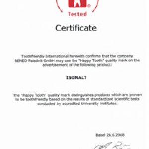 Toothfriendly certificate for Isomalt