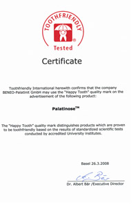 Toothfriendly Palatinose™ certificate