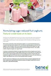 Yogur de frutas reducido en azúcar con fibras de raíz de orafta