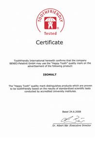 Zahnfreundlichkeits Zertifikat für Isomalt.
