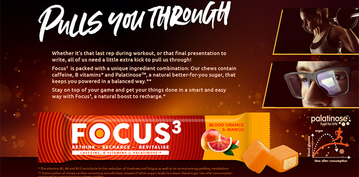 An innovative candy in candy that revitalizes and refuels body and mind