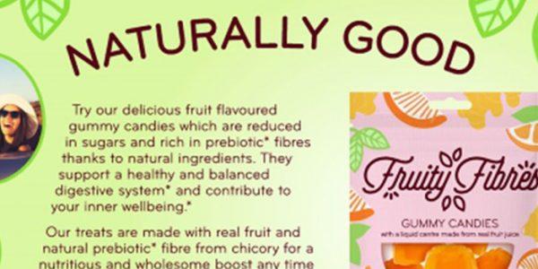 Reduced sugar gummy candies with prebiotic fibres