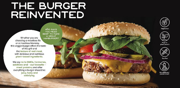 Veggie burger with wheat protein and free from additives