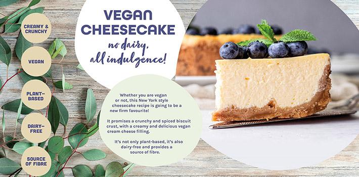 Concepto de tarta de queso vegana, un capricho de origen vegetal
