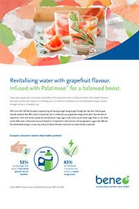 Agua revitalizante con sabor a pomelo.