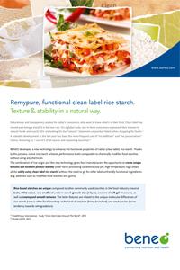 Remypure, die funktionelle Clean Label-Reisstärke. Textur und Stabilität auf natürliche Art und Weise