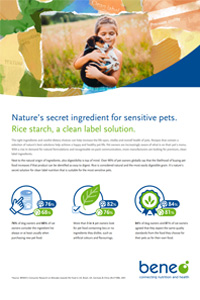Rice starch, a clean label solution for sensitive pets