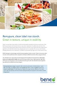 BENEO factsheet Remypure in bechamel sauce