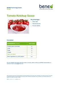 BENEO recipe Tomato Ketchup Sauce with native rice starch