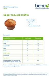 BENEO recipe sugar reduced muffin with Orafti®Inulin and rice starch