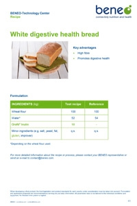 BENEO recipe white digestive health bread with Orafti® Inulin and gluten
