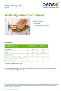 BENEO recipe white digestive health bread with Orafti® Inulin and gluten
