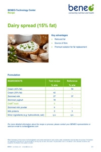Dairy recipe: fat reduced dairy spread with orafti chicory root fibres