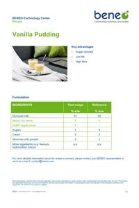 Dairy recipe: Vanilla custard with rice starch and orafti fibres