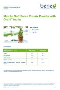 Polvo de premezcla de hielo blando de Matcha con Orafti® Inulina.
