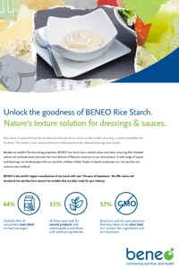 Rice starch for a natural dressing and sauce texture