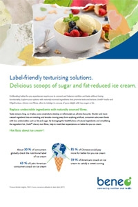 Sugar and fat reduced ice cream with Orafti® chicory root fibres.